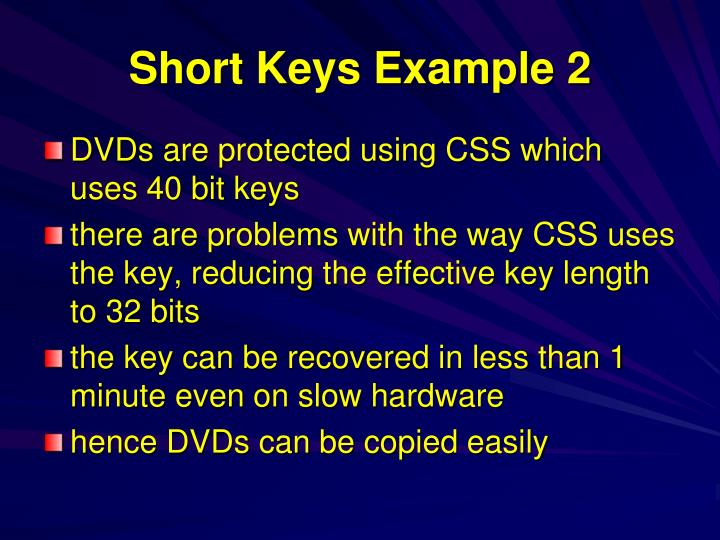 Short Keys Example 2