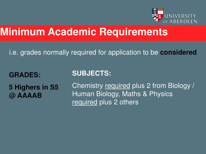 Minimum Academic