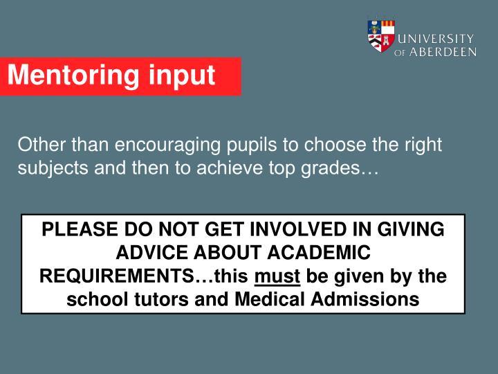 Mentoring input