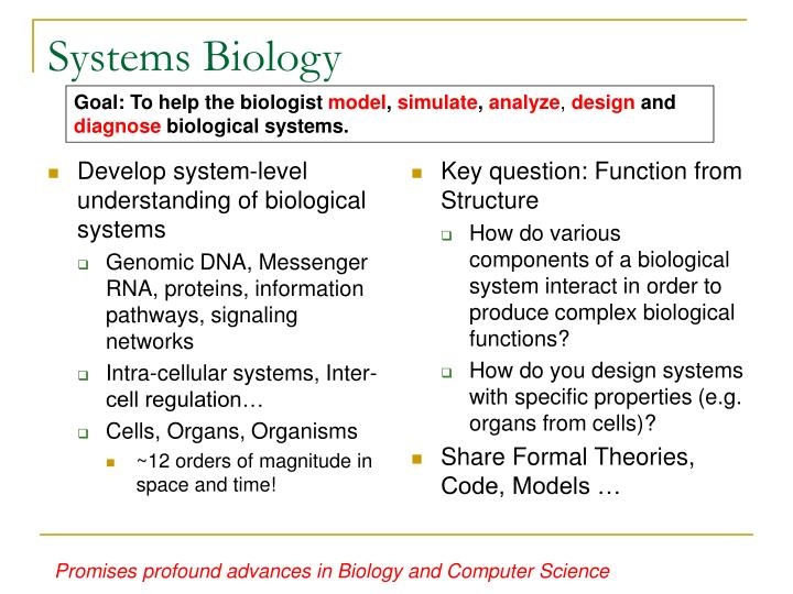 Develop system-level understanding of biological systems
