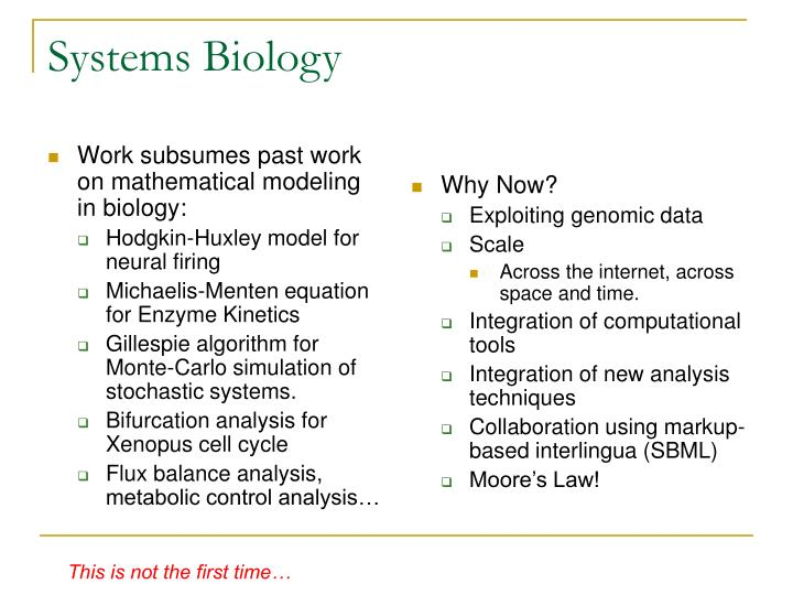 Work subsumes past work on mathematical modeling in biology: