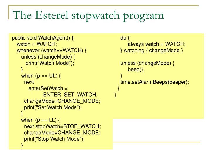 The Esterel stopwatch program