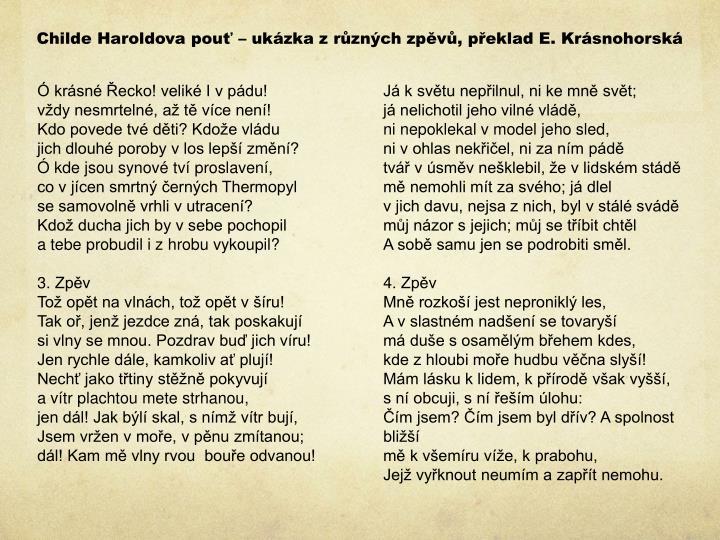 Childe Haroldova pouť – ukázka z různých zpěvů, překlad E. Krásnohorská