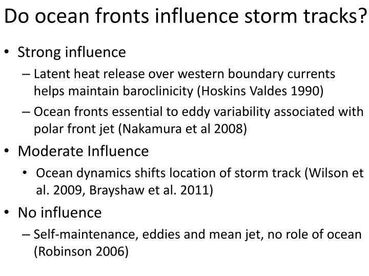 Do ocean fronts influence storm tracks?