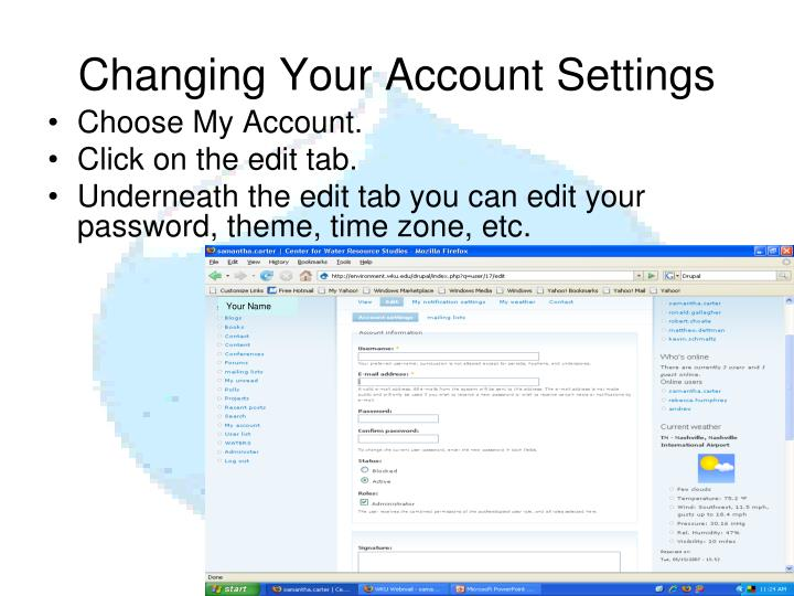Changing Your Account Settings
