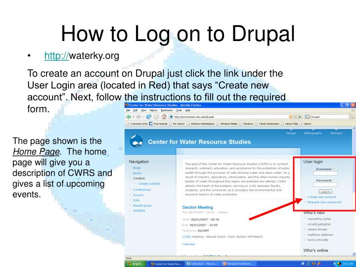 How to log on to drupal