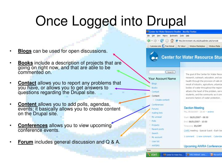 Once Logged into Drupal