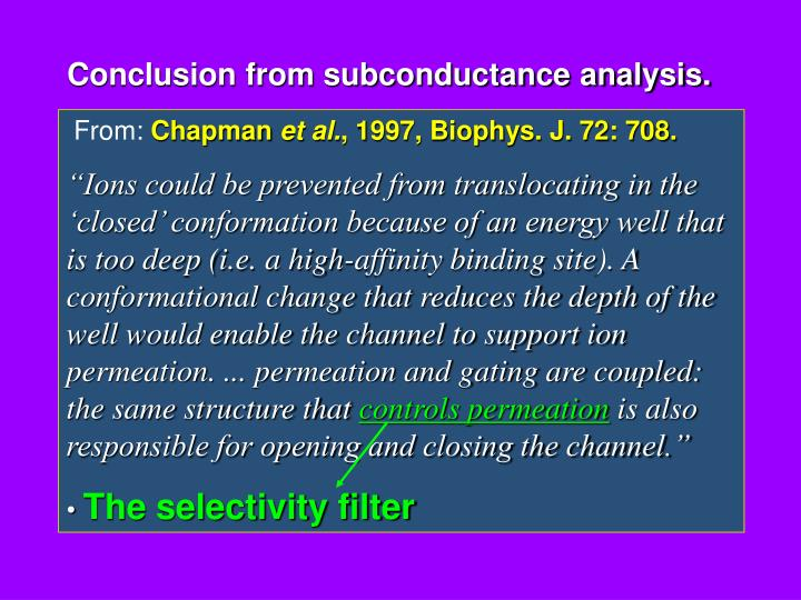 Conclusion from subconductance analysis.