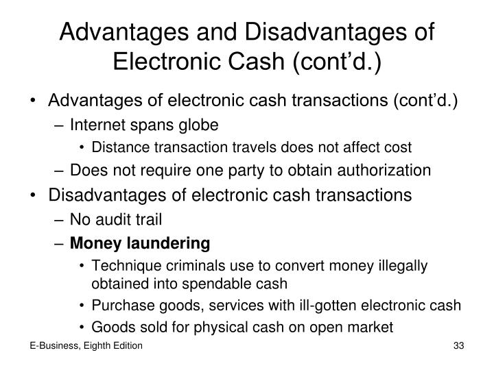 Advantages and Disadvantages of Electronic Cash (cont'd.)