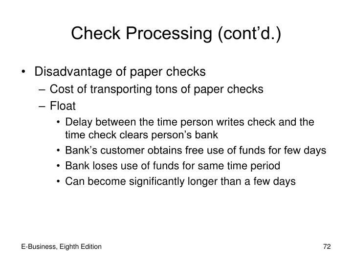 Check Processing (cont'd.)