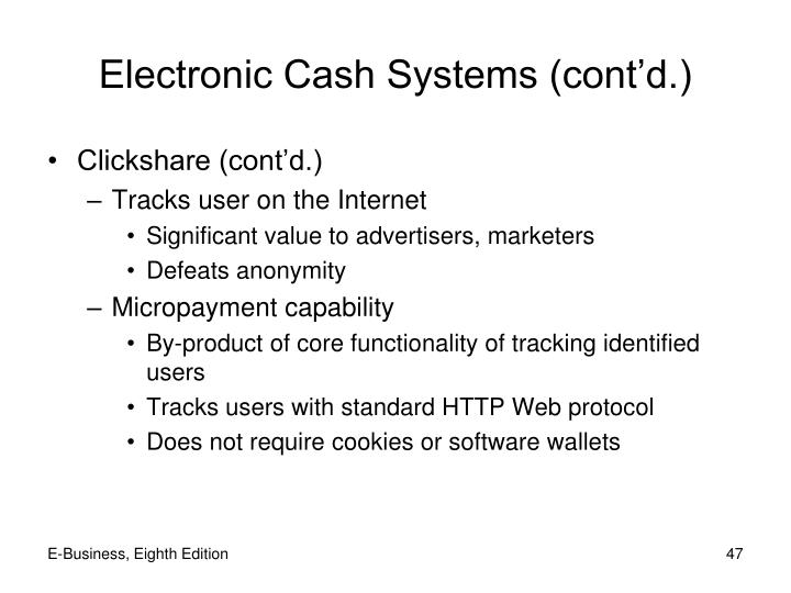 Electronic Cash Systems (cont'd.)