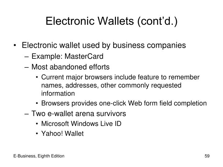 Electronic Wallets (cont'd.)