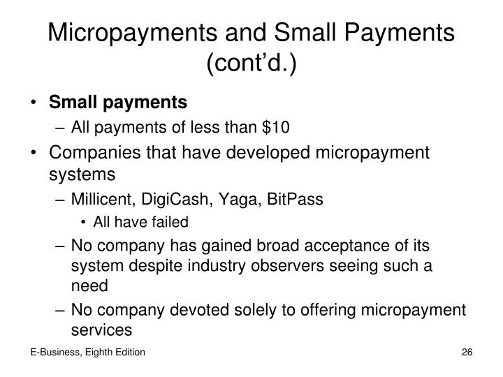 Micropayments and Small Payments (cont'd.)