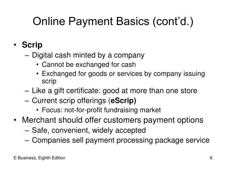 Online Payment Basics (cont'd.)