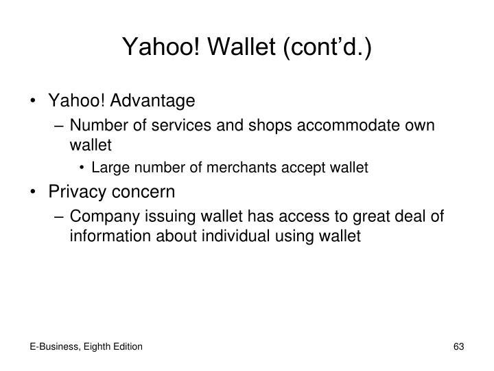 Yahoo! Wallet (cont'd.)