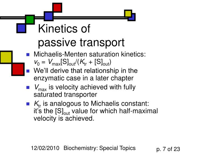 Kinetics of passive transport