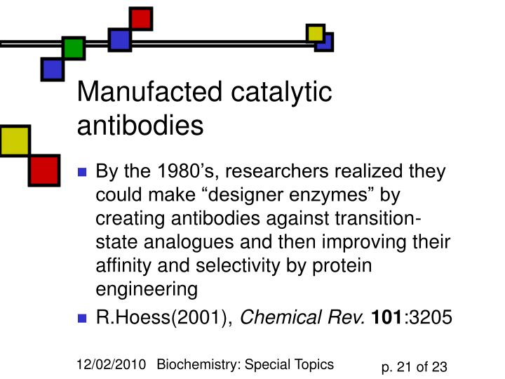 Manufacted catalytic antibodies