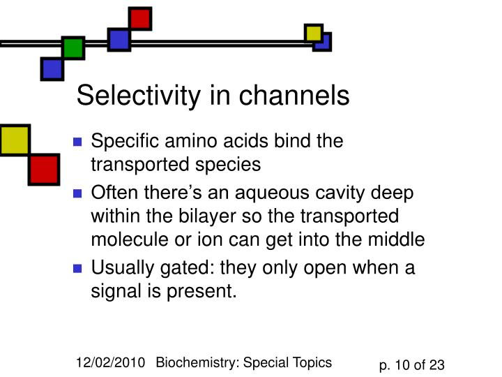 Selectivity in channels