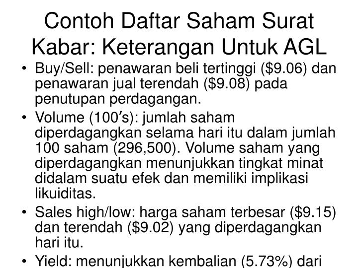 Contoh Daftar Saham Surat Kabar: Keterangan Untuk AGL