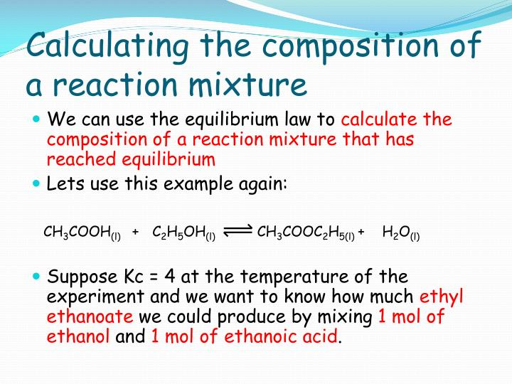 Calculating the composition of a reaction mixture