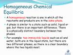 homogeneous chemical equilibria