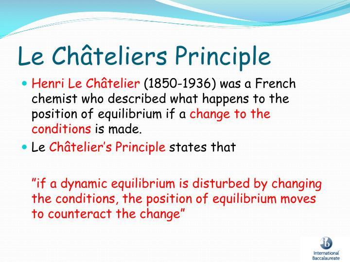 Le Châteliers Principle
