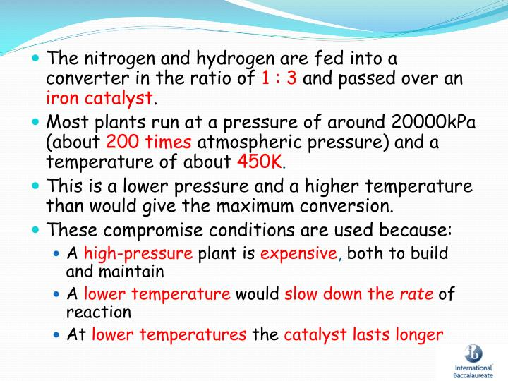 The nitrogen and hydrogen are fed into a converter in the ratio of