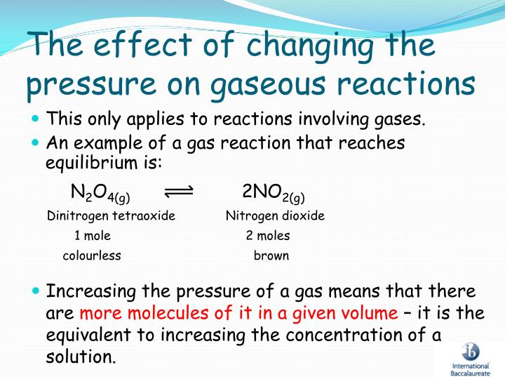 The effect of changing the pressure on gaseous reactions