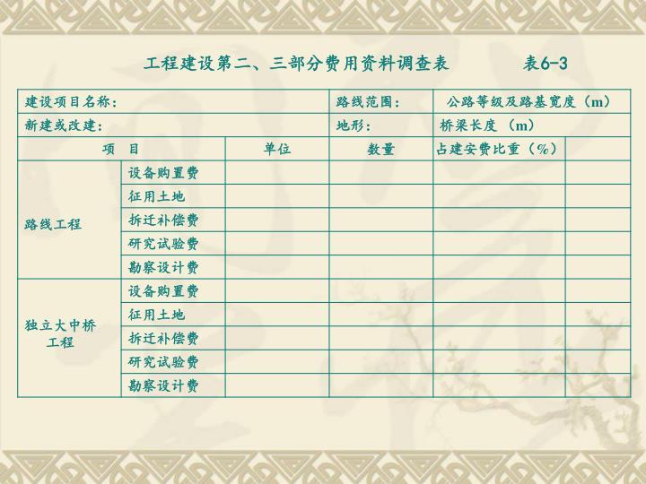 工程建设第二、三部分费用资料调查表        表