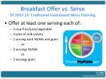 breakfast offer vs serve sy 2012 13 traditional food based menu planning