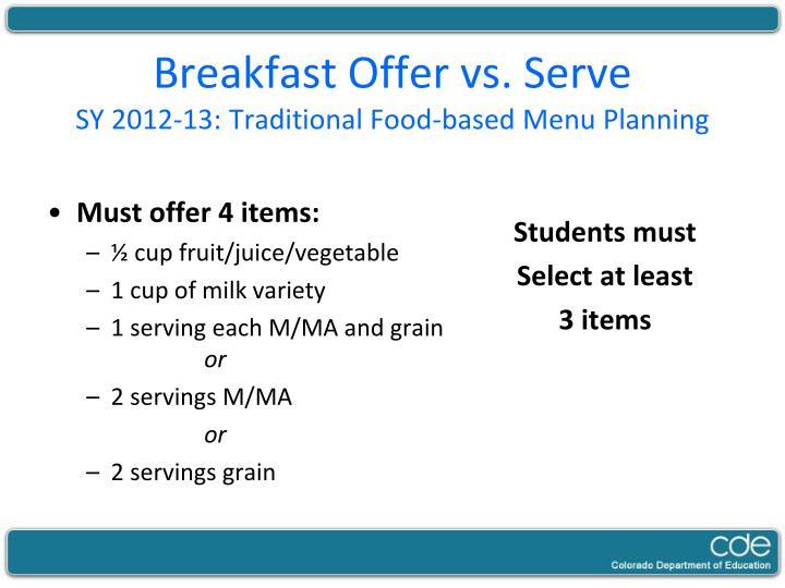 Breakfast Offer vs. Serve