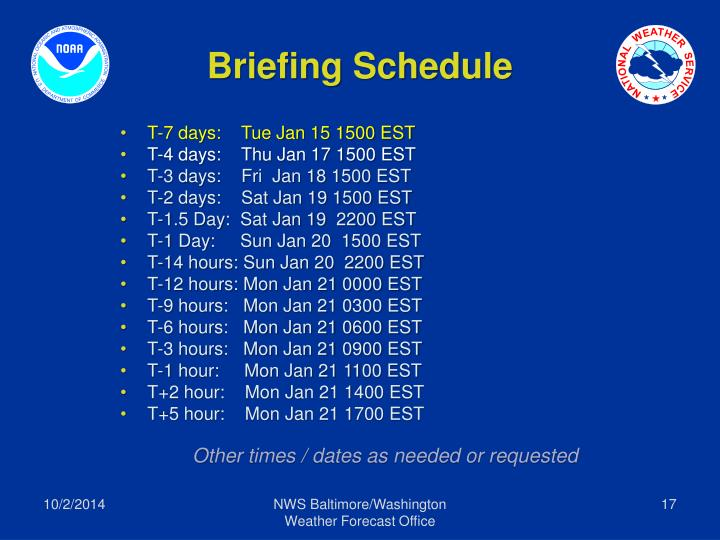 Briefing Schedule