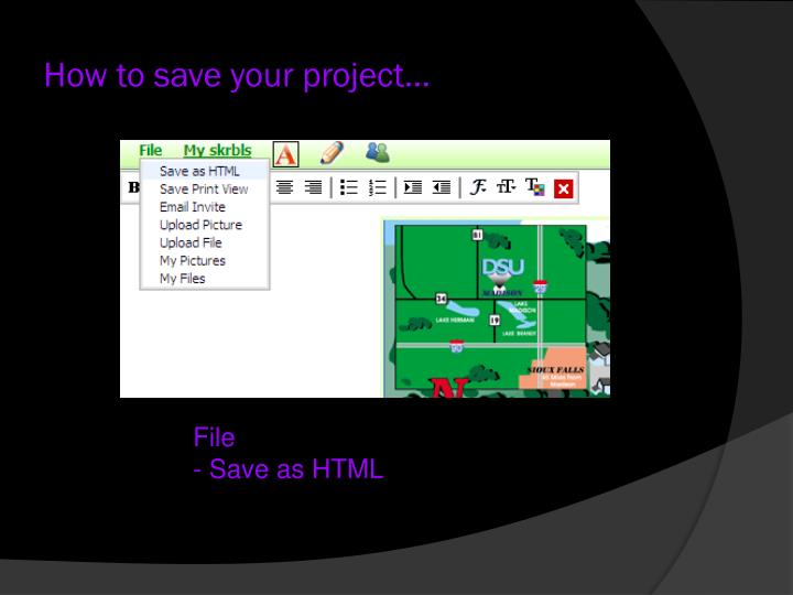 How to save your project…