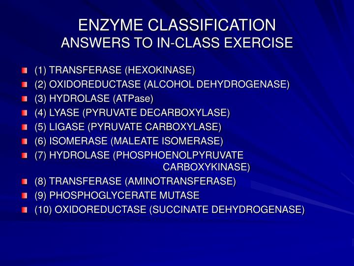 ENZYME CLASSIFICATION