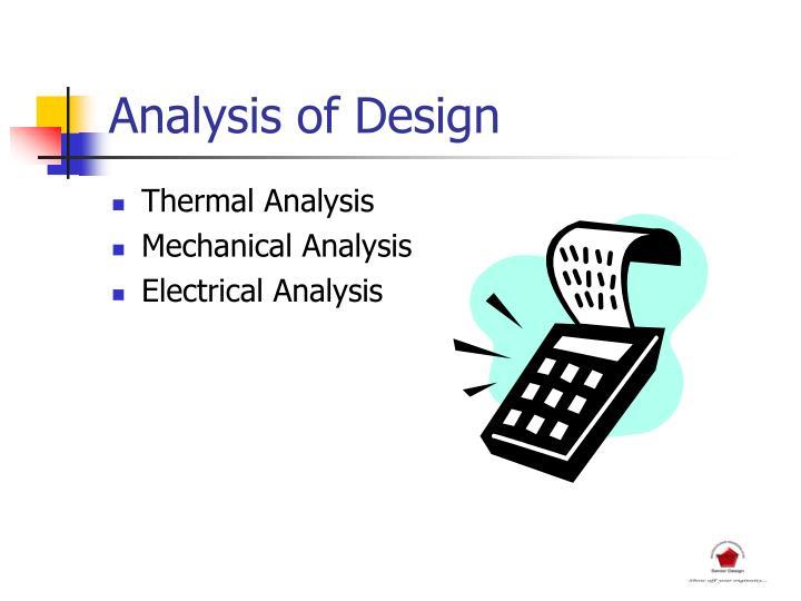 Analysis of Design