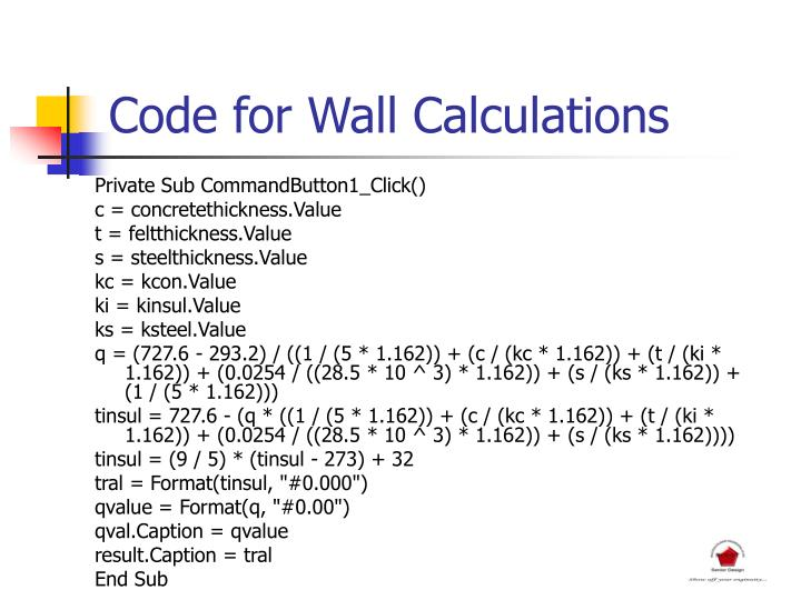 Code for Wall Calculations