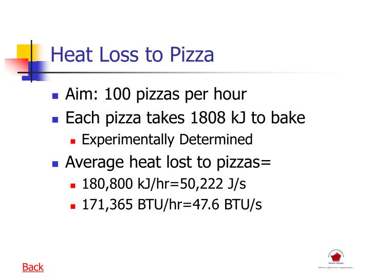 Heat Loss to Pizza