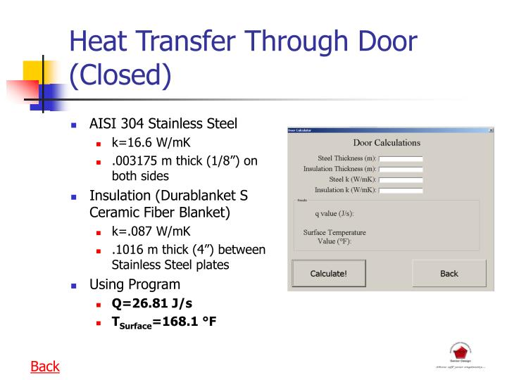 Heat Transfer Through Door (Closed)