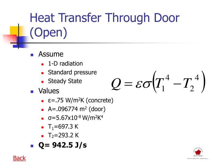 Heat Transfer Through Door (Open)