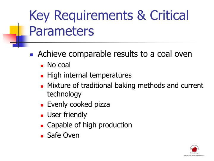 Key Requirements & Critical Parameters