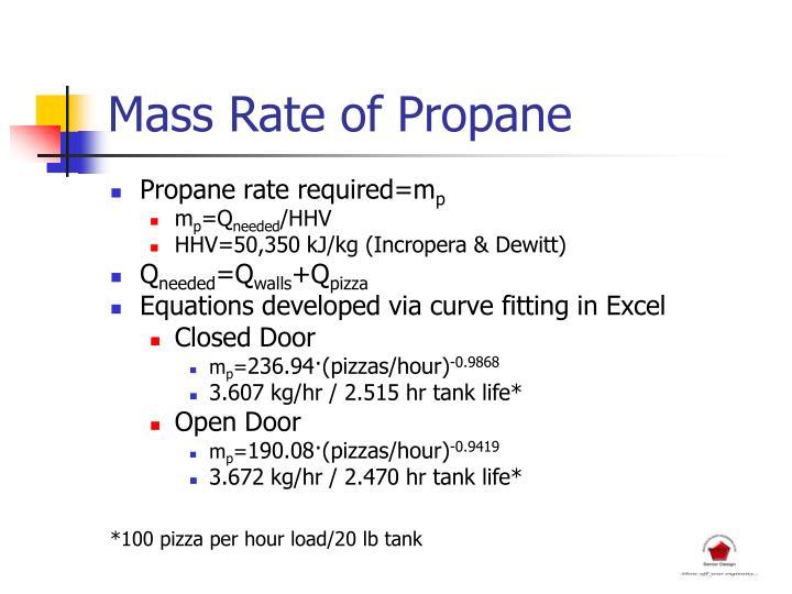 Mass Rate of Propane