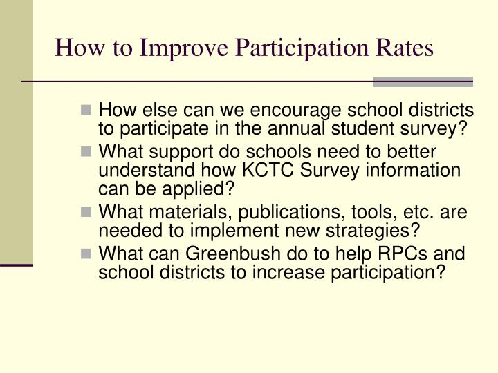 How to Improve Participation Rates