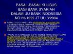 pasal pasal khusus bagi bank syariah dalam uu bank indonesia no 23 1999 jt uu 3 2004