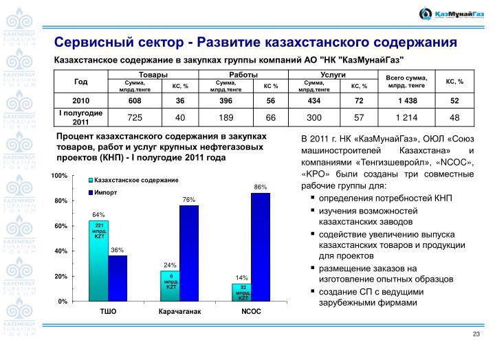 Сервисный сектор - Развитие казахстанского содержания