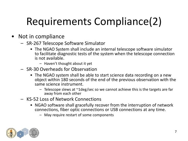 Requirements Compliance(2)