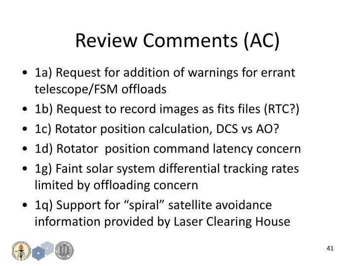 Review Comments (AC)