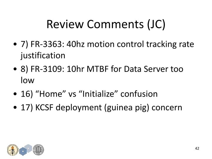 Review Comments (JC)