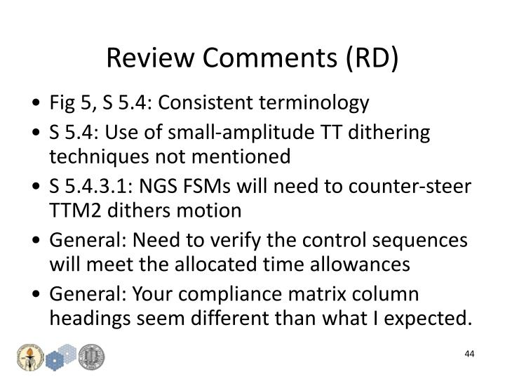Review Comments (RD)
