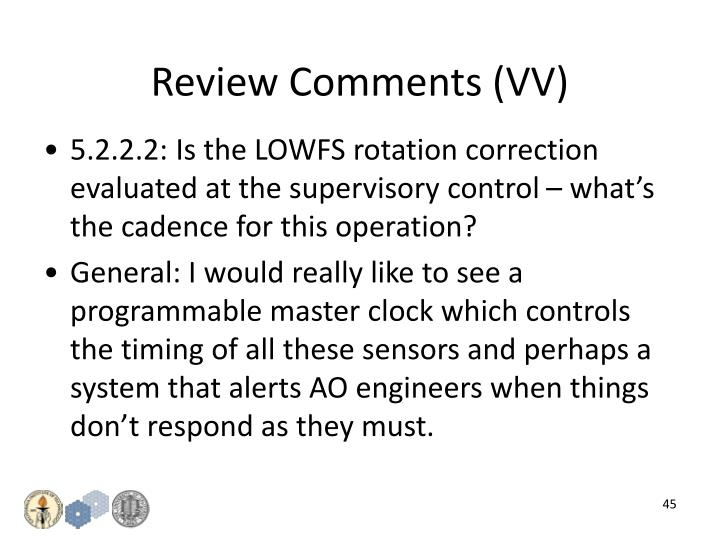 Review Comments (VV)