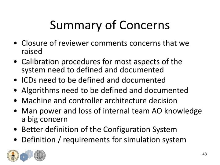 Summary of Concerns